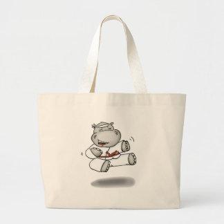 Karate Hippo Large Tote Bag