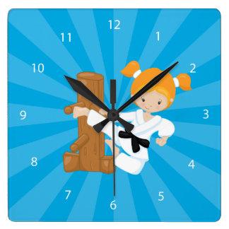 Karate Kids Square Wall Clock