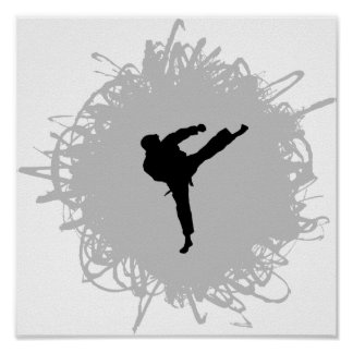 Karate Scribble Style Poster