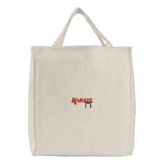 karate with black belt embroidered tote bag
