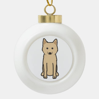 Karelo-Finnish Laika Dog Cartoon Ceramic Ball Christmas Ornament
