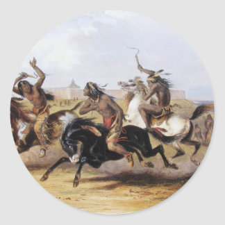Karl Bodmer - Horse Racing of the Sioux Classic Round Sticker