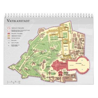 Karte der Vatikanstadt Vatican City Diagram Wall Calendar