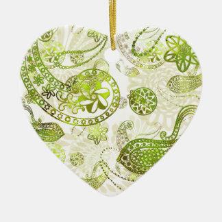 Kashmir \mysteries - Lime Green Paisley Christmas Ornament