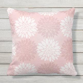 Katazome Rose Quartz Chrysanthemum Ombre Flower Throw Pillow