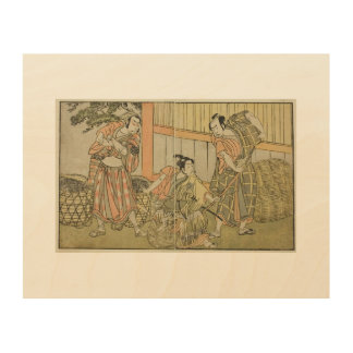 Katsukawa Shunsho Three Actors Wood Canvas