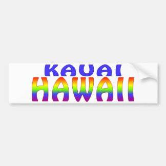 Kauai Hawaii rainbow words Bumper Sticker