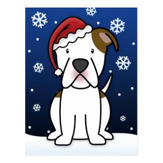 Kawaii American Bulldog Christmas Postcard