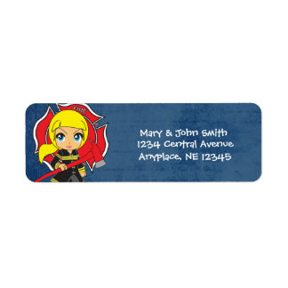 Kawaii Blonde Firefighter Girl Address Labels
