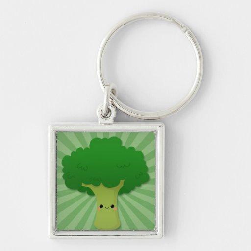 Kawaii Broccoli on Green Starburst Key Chains