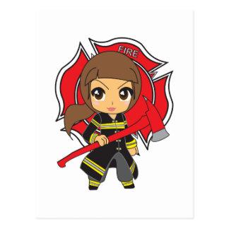 Kawaii Brunette Firefighter Girl Postcard