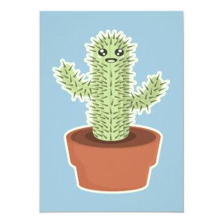 Kawaii Cactus 13 Cm X 18 Cm Invitation Card