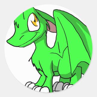 Kawaii Cartoon Recolourable SD Furry Dragon Round Sticker