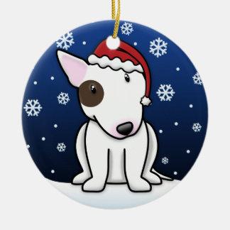 Kawaii Cartoon White Bull Terrier Christmas Christmas Ornament