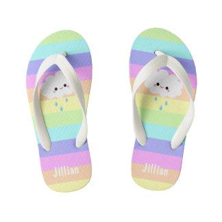 Kawaii Cloud Pastel Rainbow Stripes Thongs