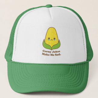 Kawaii Corn, Corny Jokes Make Me Sad Trucker Hat