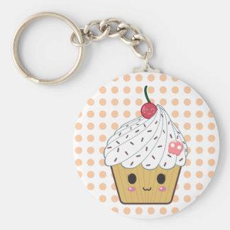 Kawaii Cupcake in Polka Dots Basic Round Button Key Ring