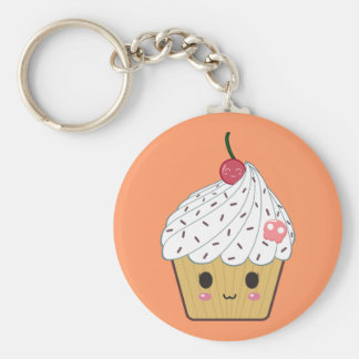 Kawaii Cupcake with Pink Sugar Skull and Cherry Basic Round Button Key Ring