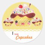 Kawaii cupcakes round stickers