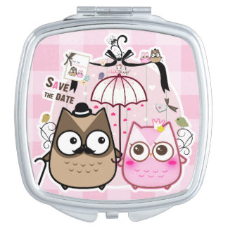Kawaii cute owl couple vanity mirror