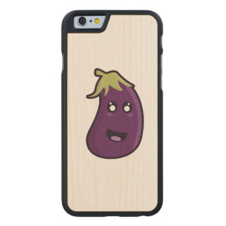 Kawaii eggplant carved maple iPhone 6 case