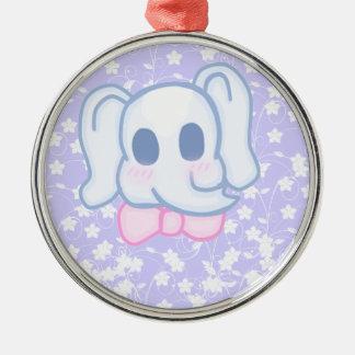 Kawaii Elephant Silver-Colored Round Decoration