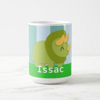 Kawaii green and yellow Triceratops for kids Basic White Mug