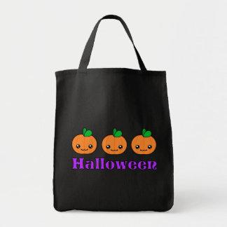 Kawaii Halloween Pumpkins Dark Tote Bag