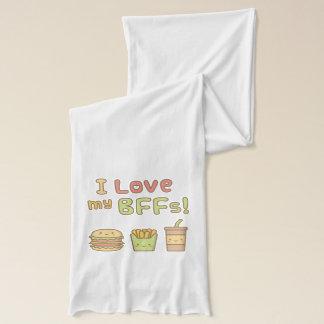 Kawaii I Love My BFFs Fast Food Doodle Scarf