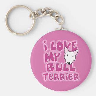 Kawaii I Love My White Bull Terrier Key Ring