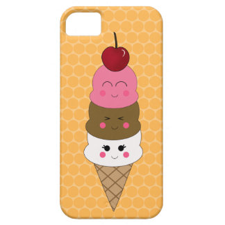 Kawaii Ice Cream Cone in Orange Case For The iPhone 5