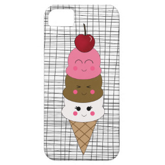 Kawaii Ice Cream Cone on Black and White Barely There iPhone 5 Case