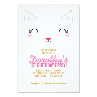 kawaii kitty CAT BIRTHDAY party invitation