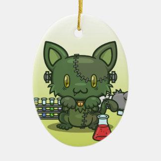 Kawaii Kitty (Frankenstein's Monster) Ceramic Oval Decoration