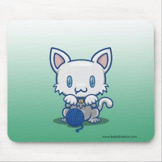 Kawaii Kitty White Mousepads