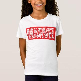 Kawaii Marvel Logo With Super Hero Pattern T-Shirt
