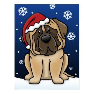 Kawaii Mastiff Christmas Postcard
