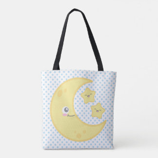 Kawaii Moon and Stars Tote Bag