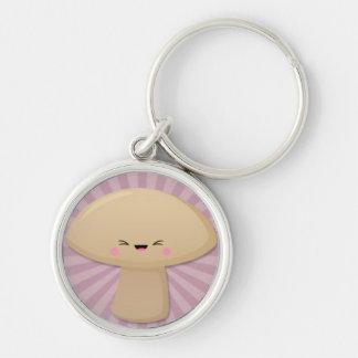 Kawaii Mushroom on Pink Starburst Keychain