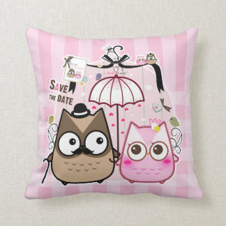 Kawaii owl couple pillow