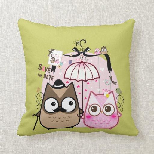 Kawaii owl couple pillow