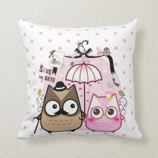 Kawaii owl couple throw cushion