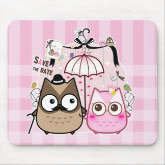 Kawaii owl couple mouse pads