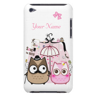 Kawaii owl couple - personalized Case-Mate iPod touch case