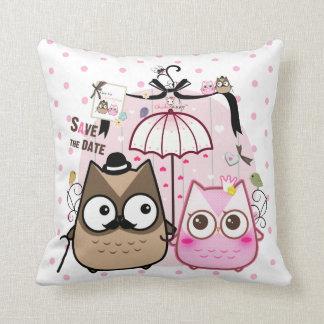 Kawaii owl couple throw pillow