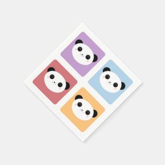 Kawaii Panda Multicolored Pop Squares Pattern Paper Napkins