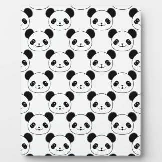 Kawaii Panda Pattern In Black And White Plaque