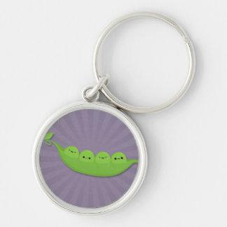 Kawaii Peas in a Pod on Purple Starburst Key Chain