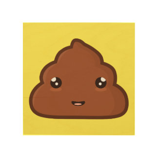 Kawaii Poo Wood Print