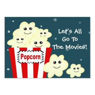 Kawaii Popcorn Movie Theme Party 13 Cm X 18 Cm Invitation Card